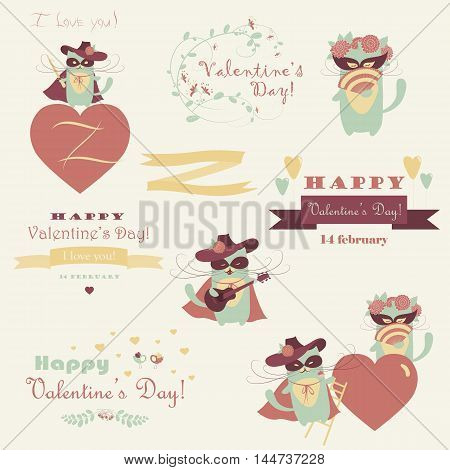 Vector set of couple funny valentine cats, macho cat and his girlffriend