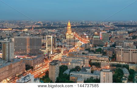 Top view of Moscow city skyline during twilight