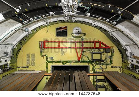 The partition between the nose and the unfinished the cargo bay of the spaceship