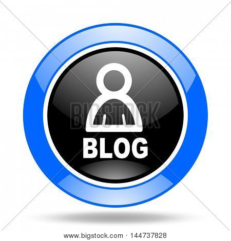 blog round glossy blue and black web icon