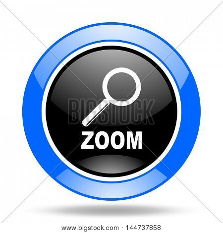 zoom round glossy blue and black web icon