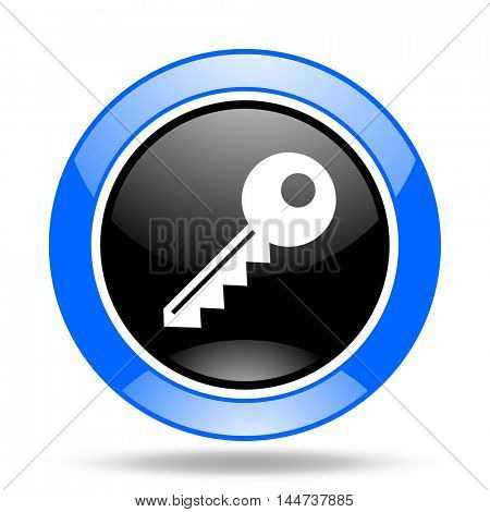 key round glossy blue and black web icon