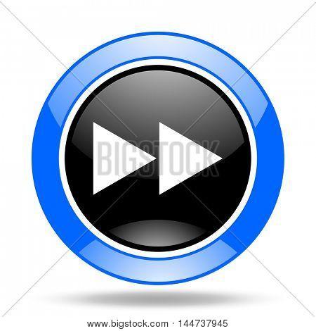 rewind round glossy blue and black web icon