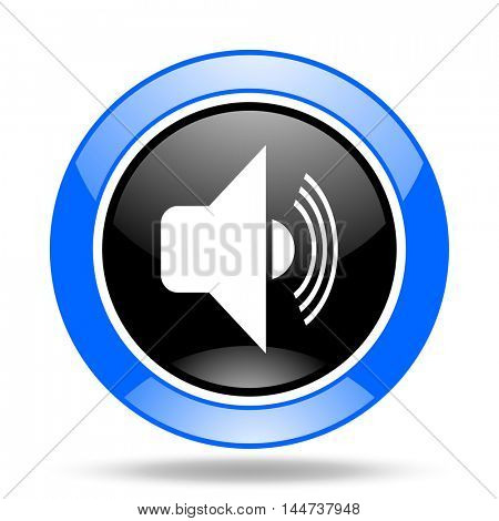 volume round glossy blue and black web icon