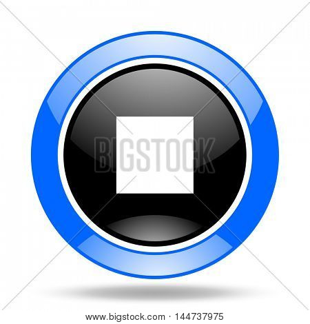 stop round glossy blue and black web icon