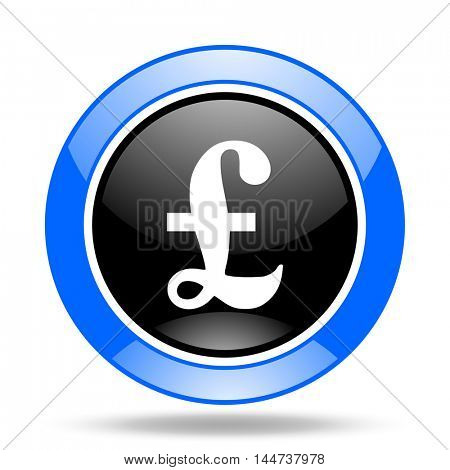 pound round glossy blue and black web icon