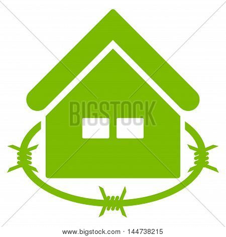 Prison Building icon. Glyph style is flat iconic symbol, eco green color, white background.
