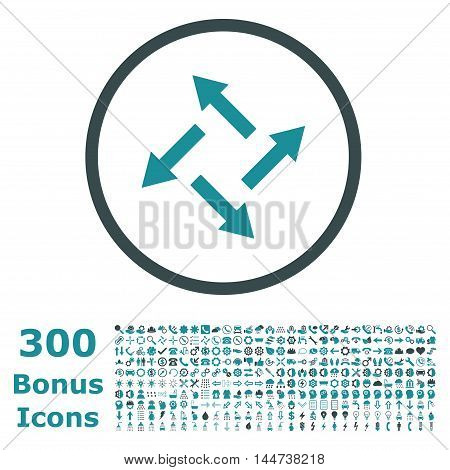 Centrifugal Arrows rounded icon with 300 bonus icons. Vector illustration style is flat iconic bicolor symbols, soft blue colors, white background.