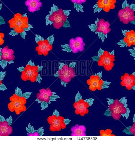 Floral bouquet seamless pattern. Flower posy background. Ornamental texture with flowers roses. Flourish ornament