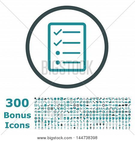Checklist Page rounded icon with 300 bonus icons. Vector illustration style is flat iconic bicolor symbols, soft blue colors, white background.