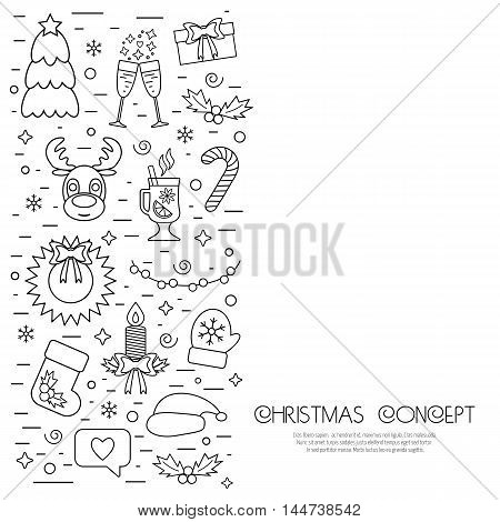 Christmas isolated concept flyer card with traditional attributes in line style. Flat design from linear icons. Vector illustration