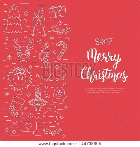Christmas isolated concept flyer card with traditional attributes in line style with white hand lettering inscription. Handwritten modern brush lettering. Flat design from white linear icons. Vector illustration