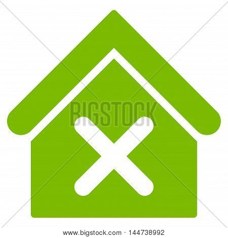 Wrong House icon. Glyph style is flat iconic symbol, eco green color, white background.