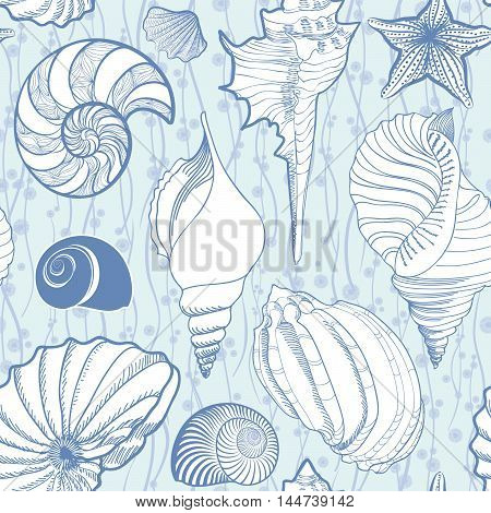 Seashell seamless pattern. Summer holiday marine background. Underwater ornamental textured sketching with sea-shells sea star and sand.