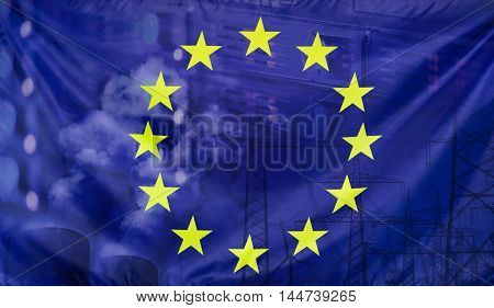 Concept European flag with energy and technology infrastructure composition