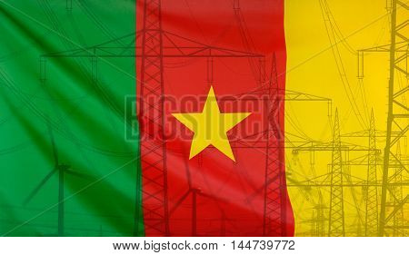 Concept Energy Distribution Flag of Cameroon merged with high voltage power poles