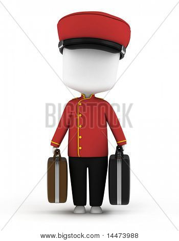 3D Illustration of a Bellboy Carrying Luggage