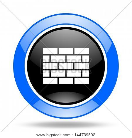 firewall round glossy blue and black web icon