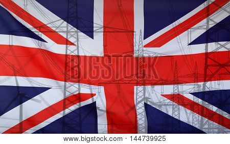 Concept Energy Distribution Flag of Great Britain merged with high voltage power poles