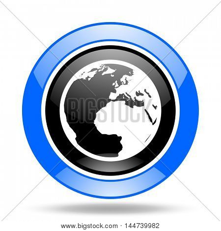 earth round glossy blue and black web icon