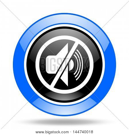 mute round glossy blue and black web icon
