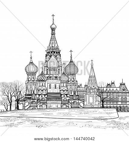 St Basil cathedral Moscow Russia. Travel Russia vector illustration. Russian famous place citsycape. Red square city view from Moscow river.