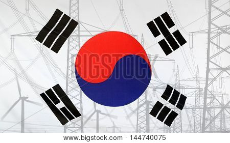 Concept Energy Distribution Flag of South Korea merged with high voltage power poles