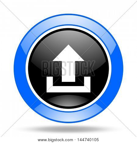 upload round glossy blue and black web icon