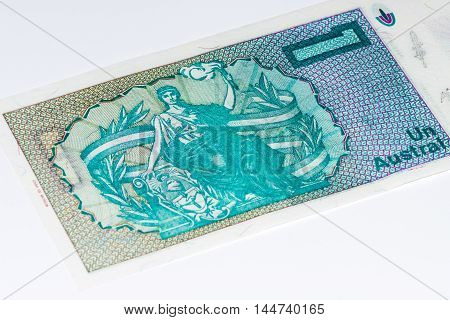 1 Argentinian austral bank note. Argentinian austral is the former currency of Argentina