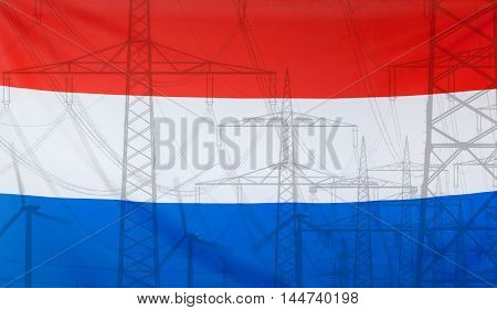 Concept Energy Distribution Flag of Netherlands merged with high voltage power poles
