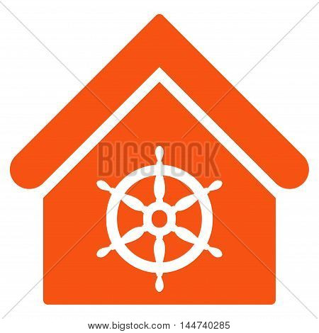 Steering Wheel House icon. Glyph style is flat iconic symbol, orange color, white background.