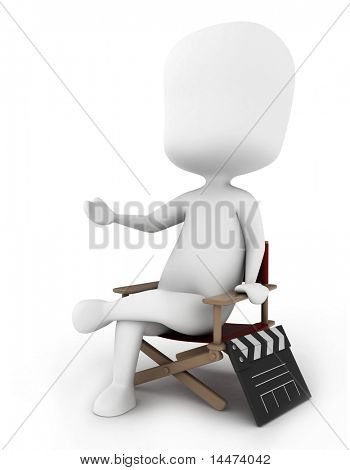 3D Illustration of a Director Sitting on His Chair