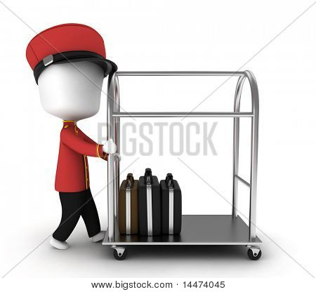3D Illustration of a Bellboy Pushing a Tray Containing Luggage