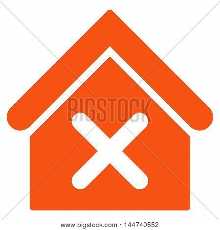 Wrong House icon. Glyph style is flat iconic symbol, orange color, white background.