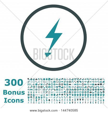 Electric Strike rounded icon with 300 bonus icons. Vector illustration style is flat iconic bicolor symbols, soft blue colors, white background.