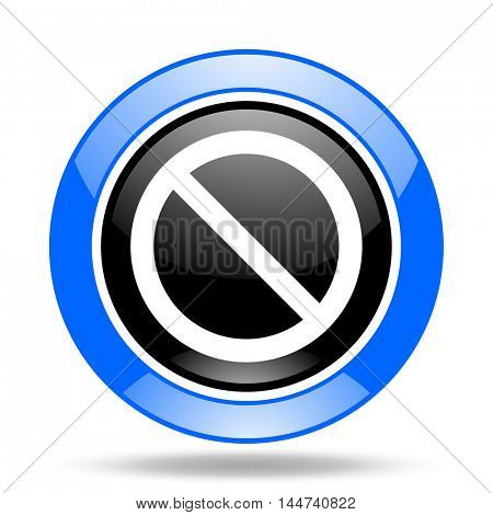 access denied round glossy blue and black web icon