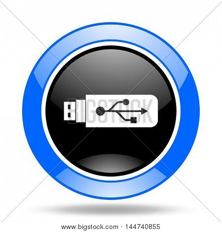 usb round glossy blue and black web icon