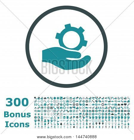 Engineering Service rounded icon with 300 bonus icons. Vector illustration style is flat iconic bicolor symbols, soft blue colors, white background.