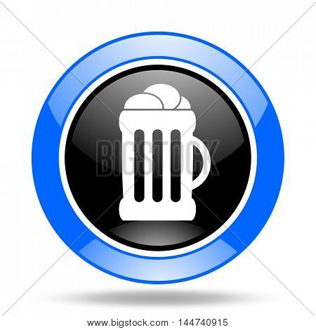 beer round glossy blue and black web icon