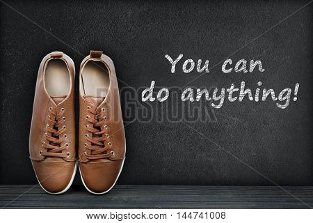 You can do anything text on black board and shoes