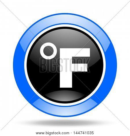 fahrenheit round glossy blue and black web icon