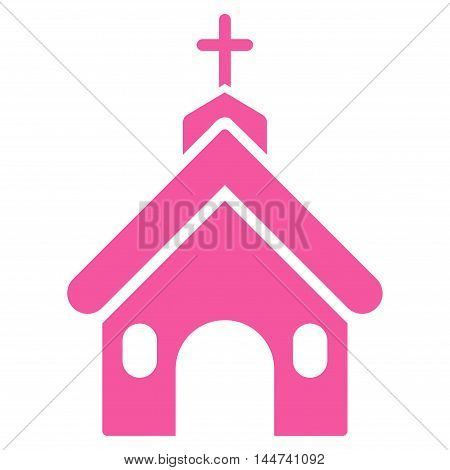 Church icon. Glyph style is flat iconic symbol, pink color, white background.