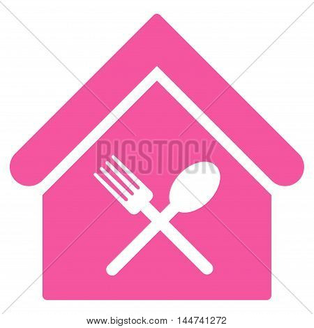Food Court icon. Glyph style is flat iconic symbol, pink color, white background.