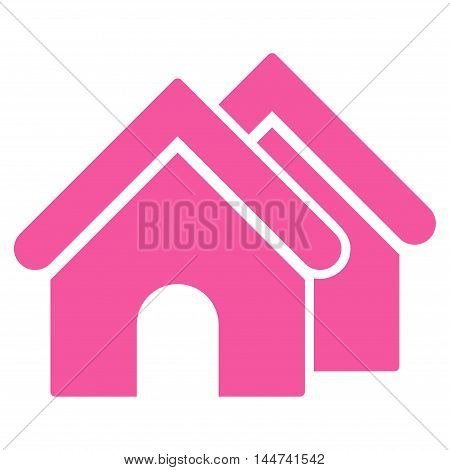 Real Estate icon. Glyph style is flat iconic symbol, pink color, white background.