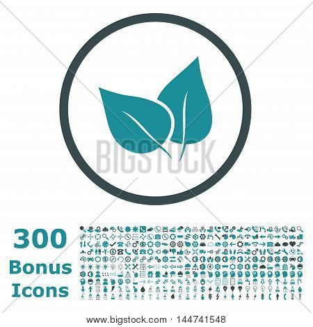Flora Plant rounded icon with 300 bonus icons. Vector illustration style is flat iconic bicolor symbols, soft blue colors, white background.