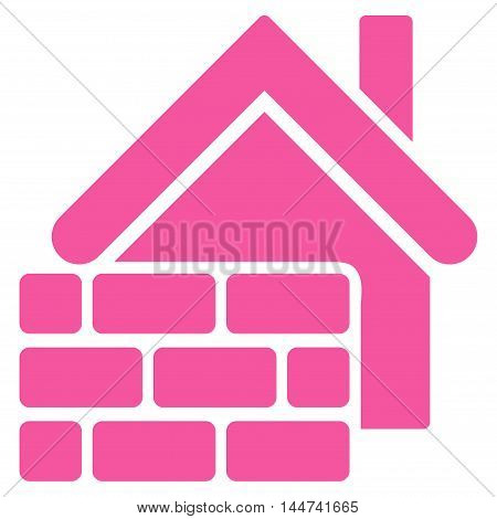 Realty Brick Wall icon. Glyph style is flat iconic symbol, pink color, white background.