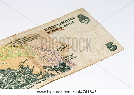 5 Argentinian peso bank note. Argentinian peso is the national currency of Argentina