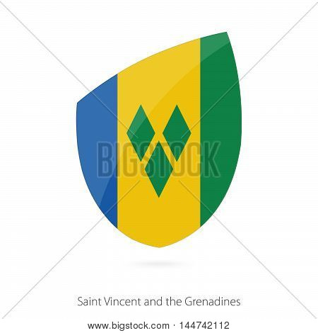 Flag of Saint Vincent and the Grenadines in the style of Rugby icon. Vector Illustration.