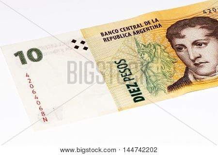 10 Argentinian peso bank note. Argentinian peso is the national currency of Argentina