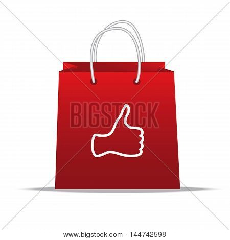 Thumb up or like sign on a red shopping bag.